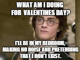 What am I doing for Valentines day? I'll be in my bedroom, making no noise and pretending that I don't exist.