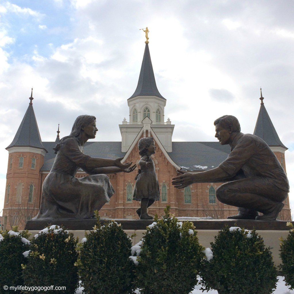 """""""In the Family Circle"""" The Statue in front of the Provo City Center Temple."""