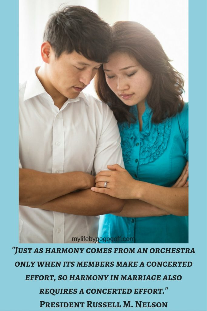 """Just as harmony comes from an orchestra only when its members make a concerted effort, so harmony in marriage also requires a concerted effort."" President Russell M. Nelson #ByGogoGoff"